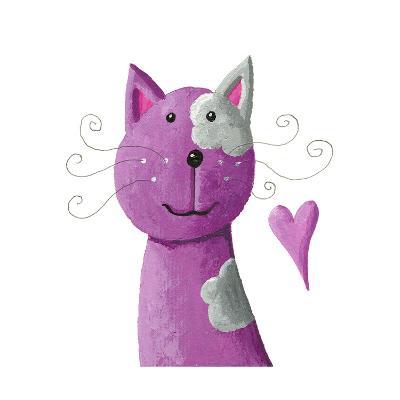 Cute Purple Cat-andreapetrlik-Art Print