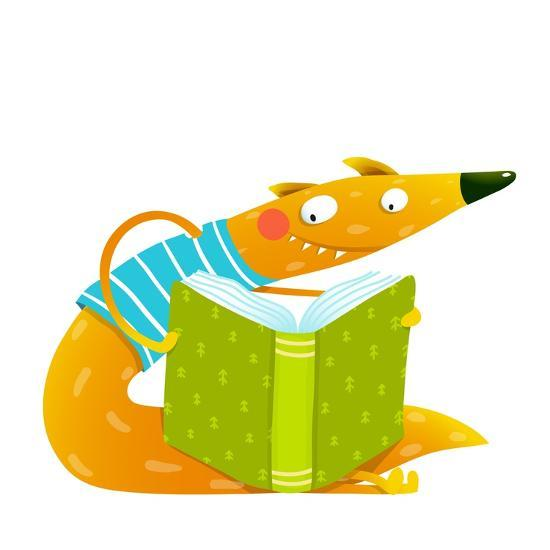 Cute Red Fox Sitting and Reading Book. Wildlife Brightly Colored Hand Drawn Watercolor Style Cartoo-Popmarleo-Art Print