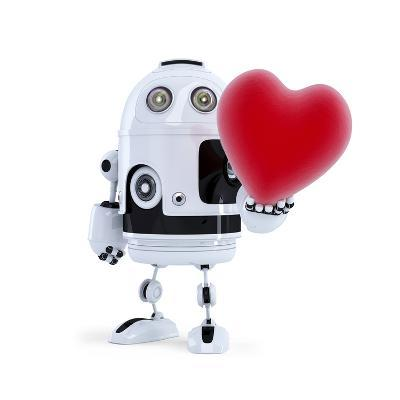 Cute Robot Holding A Big Red Heart. Isolated-Kirill_M-Art Print