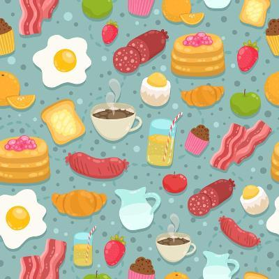 Cute Seamless Pattern with Breakfast Food-kostolom3000-Art Print
