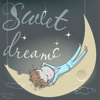 Cute Sleeping Girl on the Moon-Elena Barenbaum-Art Print