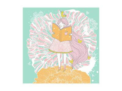 Cute Small Princess Reading a Book on Flower. Pastel Colored Girl with a Book and Colorful Ranuncul-smilewithjul-Art Print