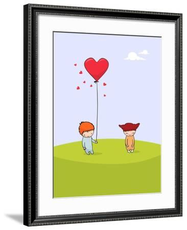 Cute Valentine's Day Card - for Vector Version See Image No. 69063406- zsooofija-Framed Art Print