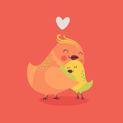 Cute Vector Cartoon Decorative Birds Mom and Child Characters Hugging Each Other Smiling. Parents L-Mascha Tace-Art Print