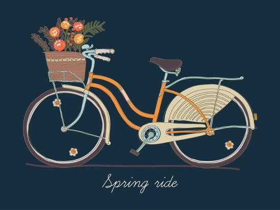 Cute Vector Retro Bicycle for Ladies with Basket Full of Spring Flowers ,  Hand Drawn Vintage Fashio Art Print by Mascha Tace | Art com