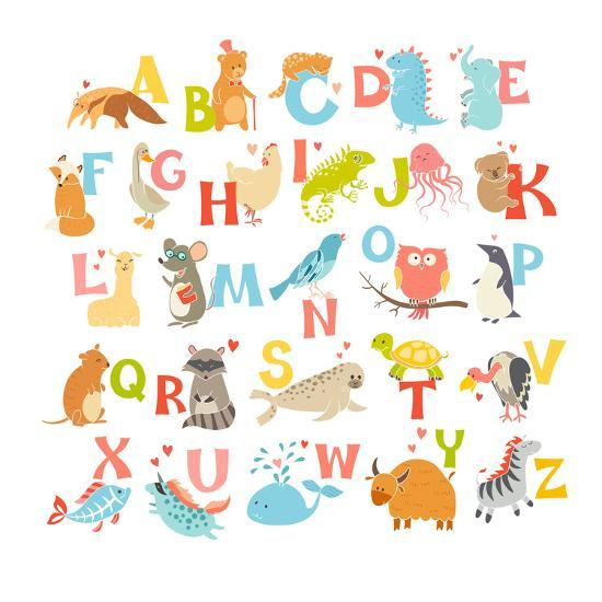 Cute Vector Zoo Alphabet. Funny Cartoon Animals-coffeee_in-Art Print