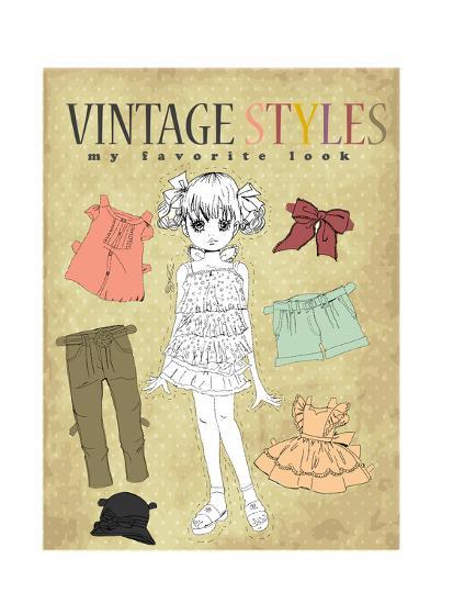 Cute Vintage Girl-studiohome-Art Print