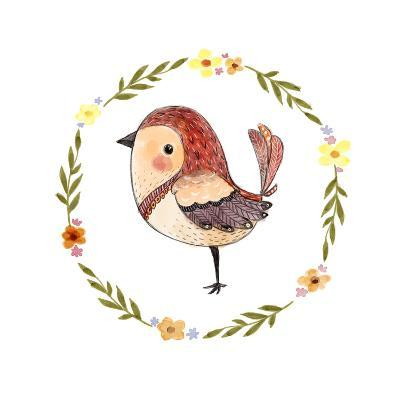Cute Watercolor Bird with Floral Wreath. Funny Kids Illustration. Perfect for Prints,Cards and Othe-Maria Sem-Art Print
