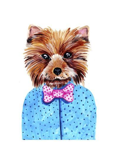 Cute Watercolor Yorkshire Terrier Portrait with Bow Tie. Formal Dog Hand Dawn Illustration.-Maria Sem-Art Print
