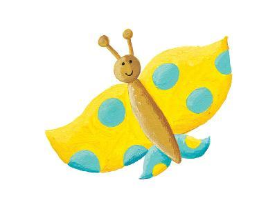Cute Yellow Butterfly with Blue Dots-andreapetrlik-Art Print