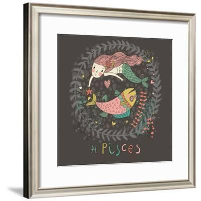 Cute Zodiac Sign - Pisces. Vector Illustration. Little Mermaid Swimming with Big Fish with Flowers-smilewithjul-Framed Premium Giclee Print