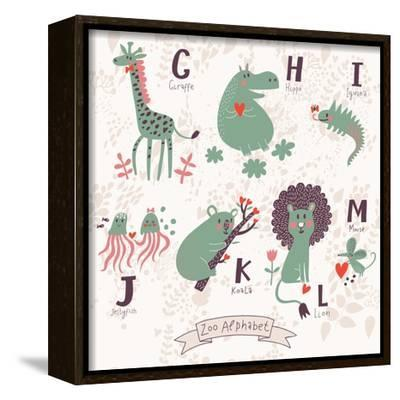 k KwikMedia Poster of Cute Zoo Alphabet in G Iguana l m Letters h Koala Mouse. j Jellyfish Lion i Giraffe Hippo Funny Animals in Love