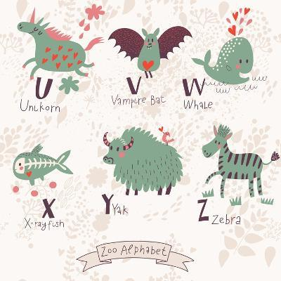 Cute Zoo Alphabet in Vector. U, V, W, X, Y, Z Letters. Funny Animals in Love. Unicorn, Vampire Bat,-smilewithjul-Art Print