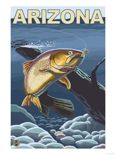 Cutthroat Trout Fishing - Arizona-Lantern Press-Art Print