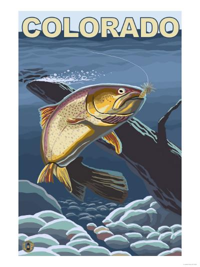 Cutthroat Trout Fishing - Colorado-Lantern Press-Art Print