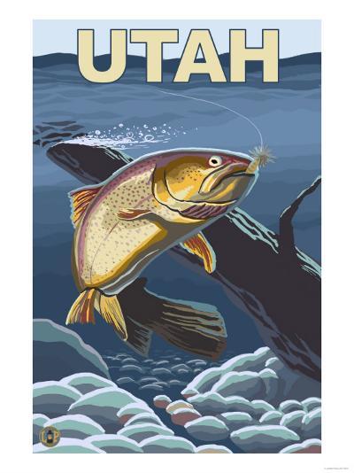 Cutthroat Trout Fishing - Utah-Lantern Press-Art Print