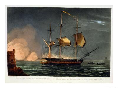 Cutting out of the Hermione from the Harbour of Porto Cavallo, October 25th 1799-Thomas Whitcombe-Giclee Print