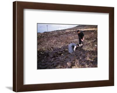 Cutting Peat near Edinbane, Isle of Skye, Scotland, c1960-CM Dixon-Framed Photographic Print
