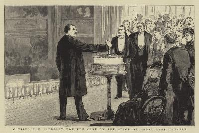 Cutting the Baddeley Twelfth Cake on the Stage of Drury Lane Theatre--Giclee Print