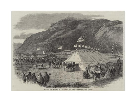 Cutting the First Sod of the Conway and Llanrwst Railway--Giclee Print