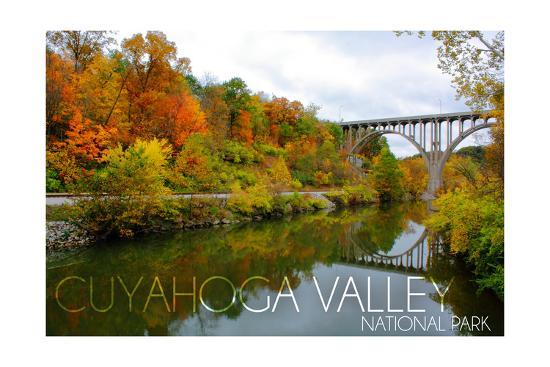 Cuyahoga Valley National Park, Ohio - Fall Foliage and Bridge-Lantern Press-Art Print