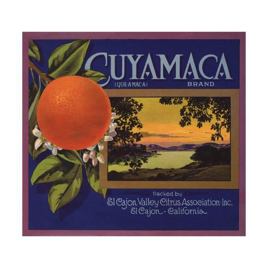 Cuyamaca Brand - El Cajon, California - Citrus Crate Label-Lantern Press-Art Print