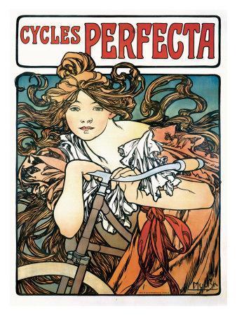 Art Nouveau Antiques Reproduction Alphonse Mucha Art Nouveau Poster Perfecta Cycles Picture Print New
