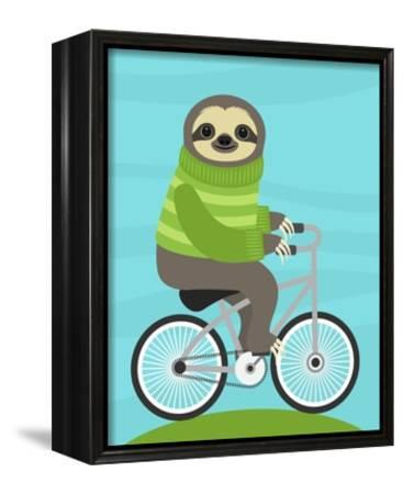 Cycling Sloth-Nancy Lee-Framed Canvas Print