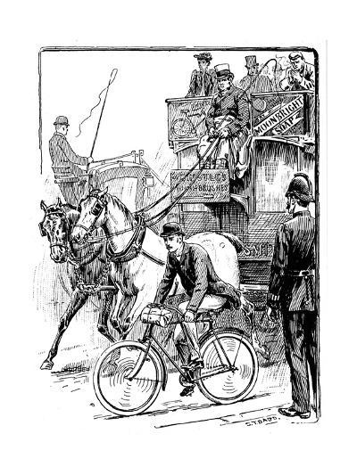 Cyclist in Busy London Traffic Riding a Machine of the Rover Safety Type, 1895-Stephen T Dadd-Giclee Print
