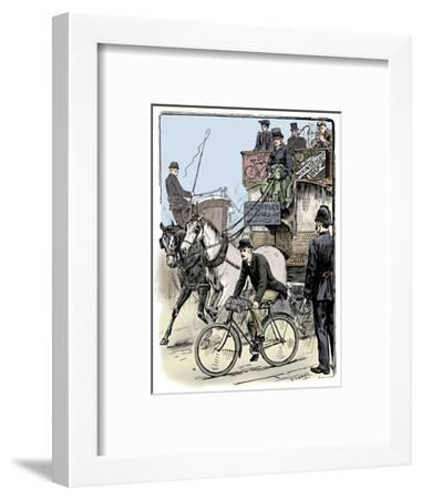 Cyclist in busy London traffic riding a machine of the Rover safety type, 1895-Stephen T Dadd-Framed Giclee Print
