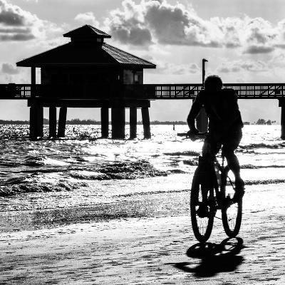 Cyclist on a Florida Beach at Sunset-Philippe Hugonnard-Photographic Print