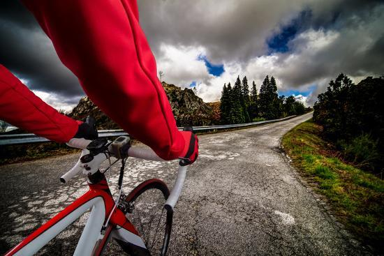 Cyclist on the Road-homydesign-Photographic Print