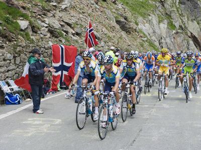 Cyclists Including Lance Armstrong and Yellow Jersey Alberto Contador in the Tour De France 2009-Christian Kober-Photographic Print