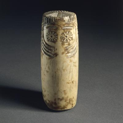 Cylindrical Alabaster Idol with Face Depicted, from Megalithic Tomb in Estremadura--Giclee Print