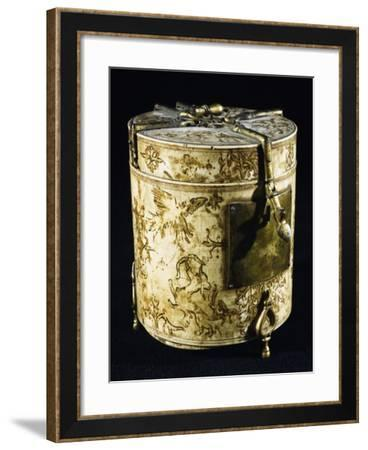 Cylindrical-Shaped Polychrome Reliquary with Oriental Decoration--Framed Giclee Print