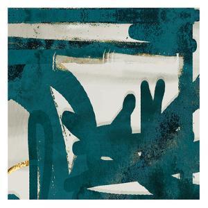 Teal Flare Square A by Cynthia Alvarez