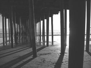 Under The Pier black & White by Cynthia Alvarez