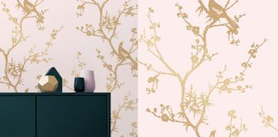 Cynthia Rowley's Bird Watching Rose Pink & Gold Self-Adhesive Wallpaper by Cynthia Rowley