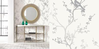 Cynthia Rowley's Bird Watching White & Silver Self-Adhesive Wallpaper by Cynthia Rowley