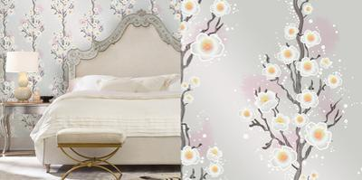Cynthia Rowley's Cherry Blossoms Silver Self-Adhesive Wallpaper by Cynthia Rowley