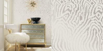 Cynthia Rowley's Zebra Silver Self-Adhesive Wallpaper by Cynthia Rowley