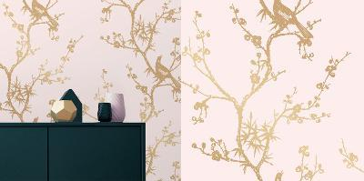 Cynthia Rowley's Bird Watching Rose Pink & Gold Self-Adhesive Wallpaper-Cynthia Rowley-Home Accessories