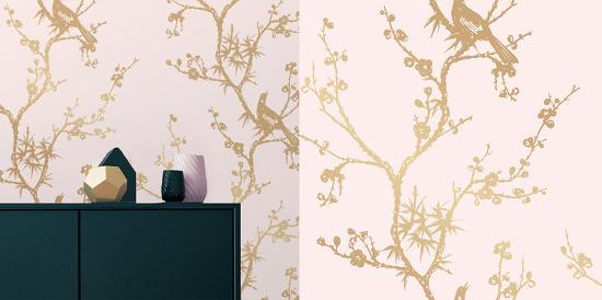 Cynthia Rowley S Bird Watching Rose Pink Gold Self Adhesive Wallpaper Home Accessories By Cynthia Rowley Art Com
