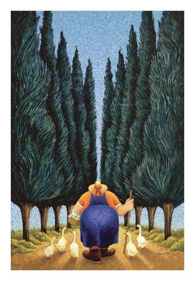 Cypress and Geese-Lowell Herrero-Art Print