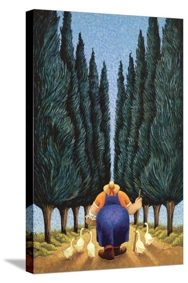 Cypress and Geese-Lowell Herrero-Stretched Canvas Print