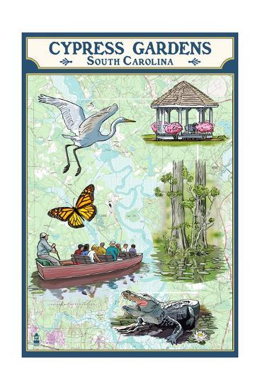 Cypress Gardens, South Carolina - Nautical Chart-Lantern Press-Art Print