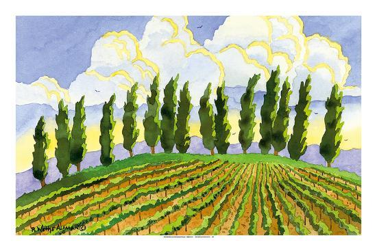 Cypress in the Clouds - Tuscany Italy - Italian Vineyards-Robin Wethe Altman-Premium Giclee Print