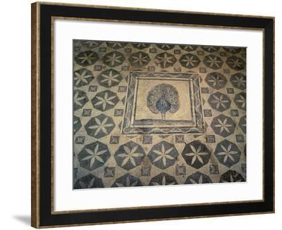 Cyprus, Paphos District, Paphos, Villa of Dionysos, Mosaic Floor with Detail of Peacock--Framed Giclee Print