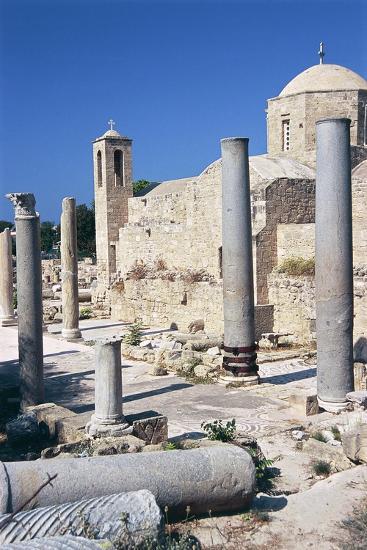 Cyprus, Paphos, Panagia Chrysopolitissa Church and St Paul's Pillar--Giclee Print