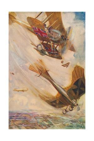 'A British Biplane Bringing Down a German Taube', c1916 (1928)